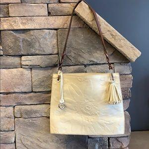 Brighton |White Leather Floral Design Shoulder Bag